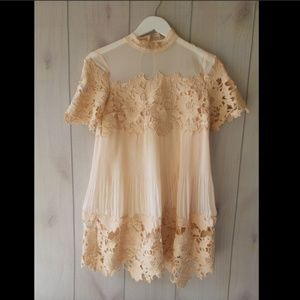 Saylor Free People Hollie Mini Dress Plisse Lace